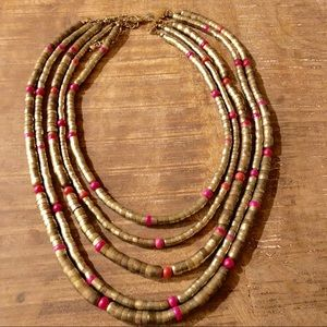 Chico's Pink And Gold Layered Necklace Adjustable